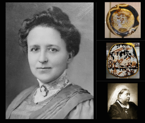 Woman wearing a cameo on a high lace collar in the Edwardian style. .Tazza Farnese. The Great Cameo of France. Queen Victoria wearing a few Cameos.